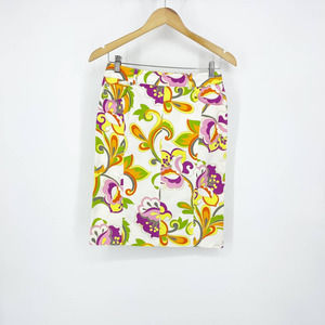 Escada Floral Mini Skirt Women's Yellow Size EU 34